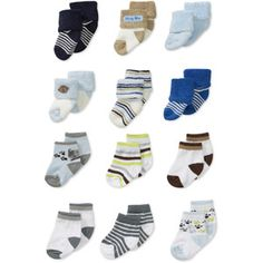Child of Mine by Carters Newborn Boys' 12pk Terry and Patterned Sock Set