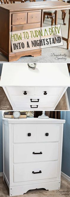 Turn an old desk into a Nightstand | DIY Desk Repurposed