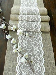 Table runner with ivory lace in #romantic Wedding #Wedding Ideas #Wedding #Wedding Photos
