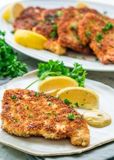 Learn how to make Chicken Schnitzel that's crispy, juicy, extra crunchy and quick to prepare. A family favorite that's impressive and delicious!