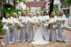 Ivory + Silver Bridesmaids, Lace Gauntlets, Bridal Party Photos ...