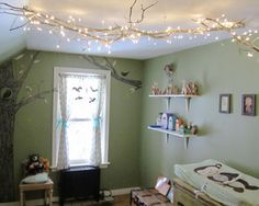 love the branches with lights on them! Chandelier for a boy?