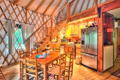 Yurt Interior Loft Inside the yurt abpan com jpg Yurt Interior, Kitchen Interior, Home Interior Design, Nordic Interior, Interior Decorating, Yurt Loft, Loft Stairs, Yurt Living, Tiny House Living