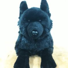 Black Wolf measuring over 20 inches in length. Find him at auswellaplush.com #wolf #blackwolf #wolves #plush #plushies Plushies, Pet Toys, Wolves, Animals, Fictional Characters, Black, Art, Art Background, Animales