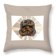 "Afro Storm Trooper Star Wars Returns Afrofuturist 16"" x 16"" Throw Pillow by Apanaki Temitayo M.  Our throw pillows are made from 100% cotton fabric and add a stylish statement to any room.  Pillows are available in sizes from 14"" x 14"" up to 26"" x 26"".  Each pillow is printed on both sides (same image) and includes a concealed zipper and removable insert (if selected) for easy cleaning."