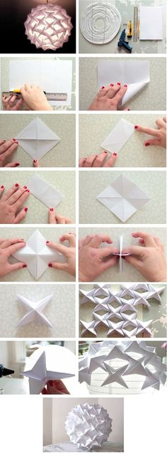 New diy paper lampshade origami 59 Ideas Origami Design, Diy Origami, Origami Modular, Origami And Kirigami, Origami Tutorial, Origami Templates, Box Templates, Origami Instructions, Origami Ball