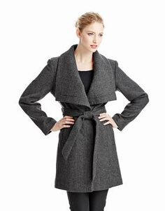 ANNE KLEIN Single-breasted Envelope Collar Wool Coat on http://shefinds.shopstyle.com