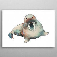 Walrus by Silver Oak Design Wall Art Prints, Canvas Prints, Cute Cartoon, Dinosaur Stuffed Animal, Canvas Art, Cartoons, Wall Decor, Posters, Fine Art