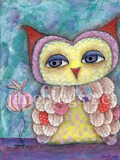 Original Mixed Media Owl Painting  Whoo's a by JaneBlogsArt, darling....