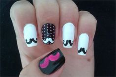 Wear mustache nail art to raise awareness for men's health issues this month. Mustache Nail Art, Movember, Art Ideas, Nail Designs, Nail Desighns, Nail Art Designs, Nail Design, Mustache Nails