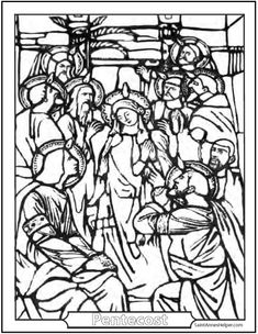 Catholic Confirmation Pentecost Stained Glass Coloring Pages