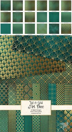 Teal and Gold Art Deco Digital Paper Color Schemes Colour Palettes, Colour Pallette, Color Combos, Art Deco Colors, Paint Colors, Decoration Restaurant, Motif Art Deco, Style Deco, Teal And Gold