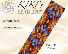 Bead loom pattern - Southern sun ethnic inspired LOOM bracelet pattern - two verions- in PDF instant download