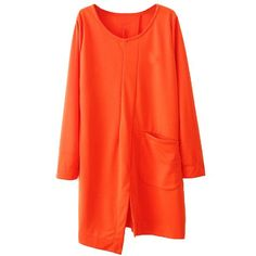 Fashional Scoop Neck Irregular Long Sleeved Solid Color Women's Dress #CLICK! #clothing, #shoes, #jewelry, #women, #men