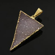Dazzling Druzy Triangle Pendant in Stunning Earth Tones, Heavy Gold Plated, 22x32mm, A+ Gorgeous Quality, Electroplated Edge (DZY/TRI/142) by Beadspoint on Etsy