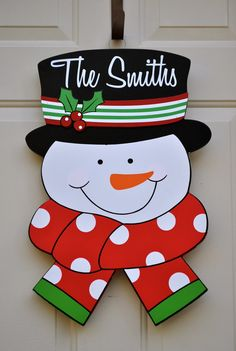 new personalized snowman walldoor hangermade of hand painted - Painted Wood Christmas Yard Decorations