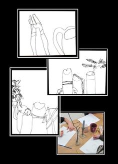Still Life Contour Drawing Art Lesson - Use a viewfinder to focus on line, shape, and negative space.