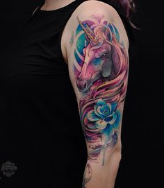 Watercolor unicorn sleeve tattoo - 40 Unicorn Tattoos Design Ideas