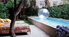 Lap pools are also a great solution for long, narrow city backyards. This is the pool at Cynthia Rowley's Manhattan townhouse, from Elle Decor via Mimi + Meg.