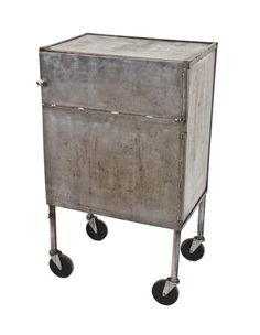 c. 1940's vintage american industrial all-welded joint heave gauge refinished steel mobile factory cabinet with spacious interior compartment