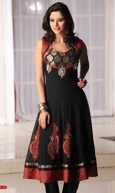 Black Faux Georgette Salwar Kamees