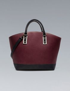This wine color is perfect for Fall! and the color-blocking is so subtle but fab! SHOPPER BASKET - ZARA