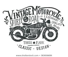 Illustration of Vintage motorcycle. Hand drawn grunge vintage illustration with hand lettering and a retro bike. This illustration can be used as a print on t-shirts and bags, stationary or as a poster. vector art, clipart and stock vectors. Harley Davidson Logo, Classic Harley Davidson, Motos Vintage, Vintage Biker, Vintage Motorcycles, Hd Motorcycles, Retro Bike, Retro Motorcycle, Motorcycle Garage