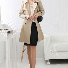 Elegant Double Breast Bowknot Sash Trench Coat