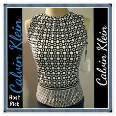 """2X HPMake Offer - Black/White Geometric Top -NWT Black and white geometrically designed tank. Gathered material around neck area. Measures 16.5"""" across bust line from armpit to armpit and a 21"""" in length from shoulder to bottom hem. Material is 95% polyester and 5% spandex; says dry clean only. Wear year-round by wearing a cardigan or jacket over it during the cooler months! Host Pick for Night Out Party on 2/27 by @dressyu  HP by Chloe @theachloe for Everyday Darling Party 7/10 Calvin Klein…"""
