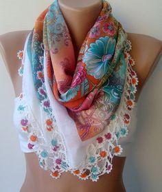 Crocheted oya scarf  Yemeni lace scarf  Summer scarf by trendscarf, $32.00
