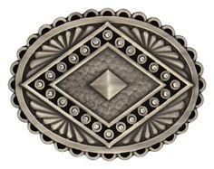 (MSA444) Western Aztec Silver Pyramid Belt Buckle