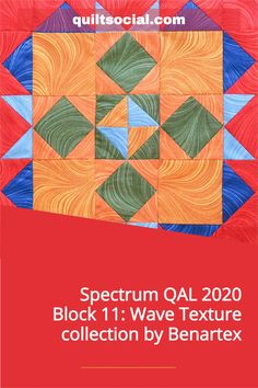 Instructions for Paul Léger's Block 11 for the Spectrum QAL 2020 using the very colorful Wave Texture Fabric Collection by Benartex. Free block pattern ✨💙 #TheSewGoesOn #Paullegerquilts #benartex_fabrics #letsquiltalong #patchwork #fabrics #QUILTsocial Quilting Projects, Quilting Designs, Pattern Blocks, Quilt Patterns, Fabric Pumpkins, Fabric Squares, Craft Tutorials, Quilt Blocks, Spectrum