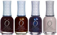 Dark Shadows collection from Orly.  Buried Alive, Grave Mistake, Mysterious Curse, & Decades of Dysfunction. Coming soon to Sally Beauty Supply May 2012