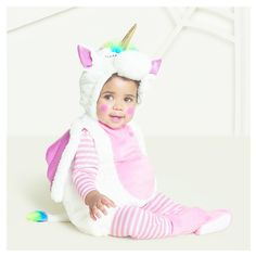 Baby Plush Rainbow Unicorn Vest Costume 0-6 Months - Hyde and Eek! Boutique, Infant Girl's, Blue Pink White