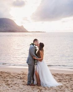 "4951785a0add1 Destination Hawaii Beach Wedding at St Regis Princeville Resort / Bride  wearing Hayley Paige ""Kenny"