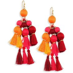Kate Spade New York Pretty Poms Tassel Statement Earrings ($98) ❤ liked on Polyvore featuring jewelry, earrings, colorful earrings, statement earrings, 14 karat gold earrings, multi colored earrings and pom pom earrings