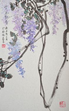 Japanese Ink Painting, Japan Painting, Chinese Painting, Chinese Drawings, Wall Art Pictures, Wisteria, Home Decor Wall Art, Asian Art, Original Paintings