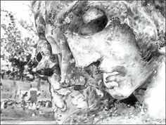 Two photos of a statue from a local cemetery drawn merged together.