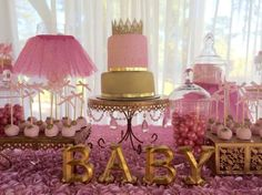 pink and gold baby shower decorations, pink tutus
