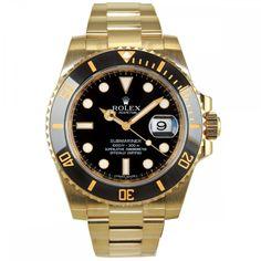 Rolex Submariner Yellow Gold Watch Black Dial Ceramic Bezel 116618