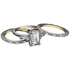 Alexandra Mor Three Ring Emerald Cut diamond and Baguette Engagement Ring | From a unique collection of vintage engagement rings at https://www.1stdibs.com/jewelry/rings/engagement-rings/