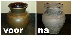 Een oude vaas van mijn oma gepimpt! Super makkelijk met maar 4 benodigdheden: muurvuller van de action, Le noir blanc muurverf, bloem en vernis.