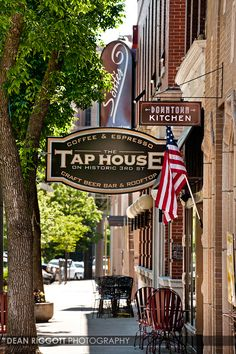 Historic Third Street in downtown Rochester, Minnesota, featuring The Tap House, Sontes and Downtown Kitchen restaurant. Rochester mn. ©Dean Riggott Photography. http://www.riggottphoto.com