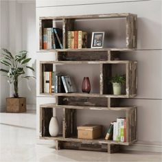 Coaster Furniture Salvaged Cabin Bookcase - A distressed wood finish and three-tiered design featuring framed shelves of different shapes and sizes make this Coaster Furniture Salvaged Cabin Open Bookcase, Cube Bookcase, Etagere Bookcase, Bookshelves, Bookshelf Ideas, Rustic Bookshelf, Vintage Bookshelf, Log Cabin Furniture, Coaster Furniture