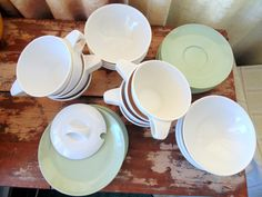 reserved for Kelly 1950u0027s vintage 33 pc Mid Century Boontonware Somerset Sage Green Melamine Dishes & Boontonware Dishes. Boonton Dishes. Melamine Dishes. 1950s Melmac ...
