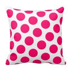 Pink Polka Dot Throw Pillows