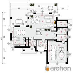 Projekt domu Willa Weronika 3 - ARCHON+ Floor Plans, Wood Sculpture, Planer, House Plans, Diagram, How To Plan, Houses, House Floor Plans, Home Plans