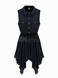 Gorgeous Stand Collar Buttons Chiffon Vintage Dress - Milanoo.com