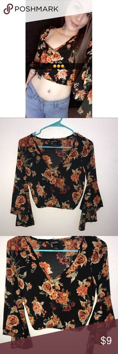 [Rue 21] Floral + Flirty Cropped Blouse Floral crop top with flowy sleeves and a sinched elastic waist. Size Medium. Worn twice but still in excellent condition.   Measurements of the shirt aren't included but it fits me (pictured) and I'm 5'8, 140lbs.   I have the same top listed in my closet in light blue, size Large.  ⭐️ Bundle 2 or more items from my closet to receive 15% off and save on shipping! All orders are carefully shipped in a padded envelope or box within 1 business day from CO…
