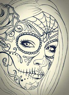 Skull girl tattoo idea